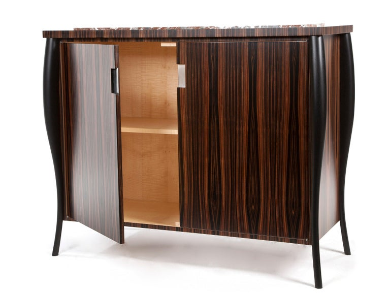 Art Deco Dark Ebony Cocktail Cabinet with Stone Top For Sale