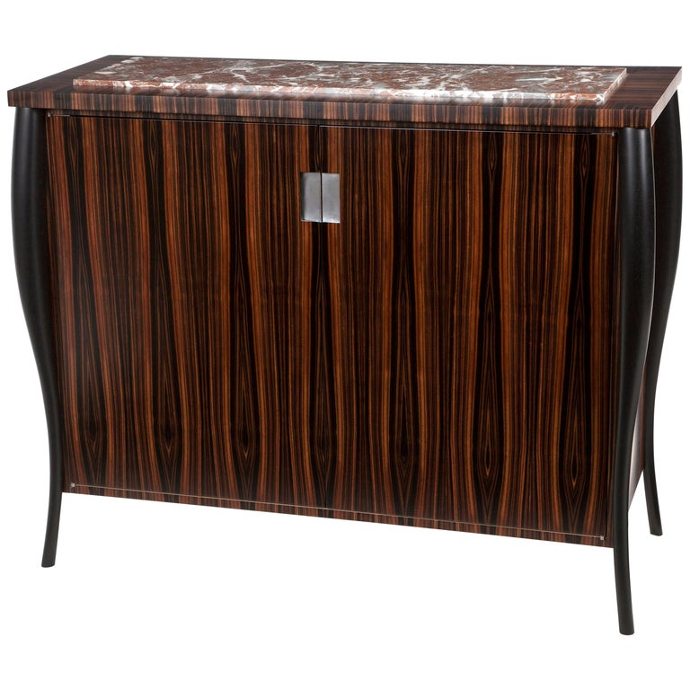 Dark Ebony Cocktail Cabinet with Stone Top For Sale