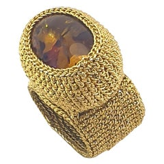 Dark Gold Color Thread Crochet Statement Cocktail Ring Resin Amber Bold Maximali
