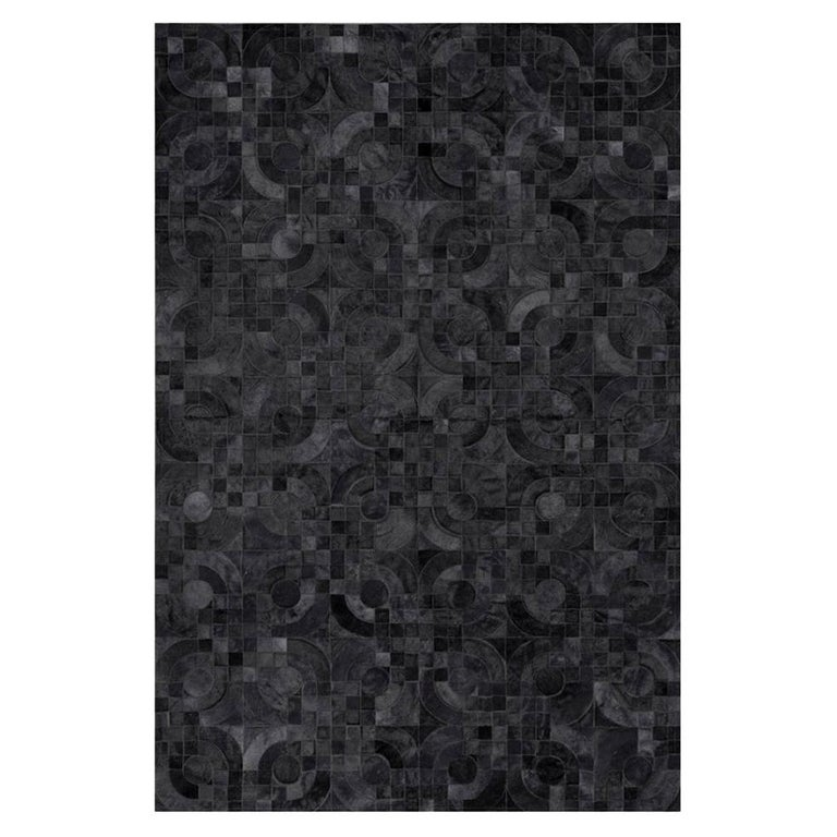 Dark Gray Customizable 1970s Inspired Optico Cowhide Area Floor Rug Large For Sale