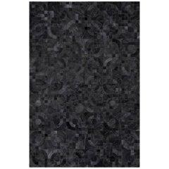 Dark Gray Customizable 1970s Inspired Optico Cowhide Area Floor Rug X-Large