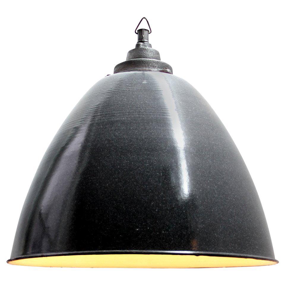 Dark Gray Enamel Vintage Industrial Cast Iron Pendant Light