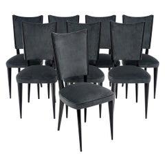 Dunkelgraue Midcentury Samt-Esszimmerstühle