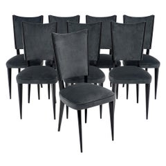 Dark Gray Velvet Midcentury Dining Chairs