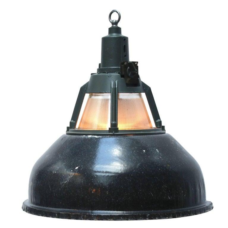 Dark Gray Vintage Industrial Holophane Glass Pendants Lights (42x)