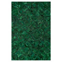 Dark Green, 1970s Inspired Customizable Optico Cowhide Area Floor Rug Large