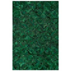 Dark Green, 1970s Inspired Customizable Optico Cowhide Area Floor Rug X-Large