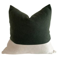 Dark Green Cashmere and Linen Pillow with Down Insert
