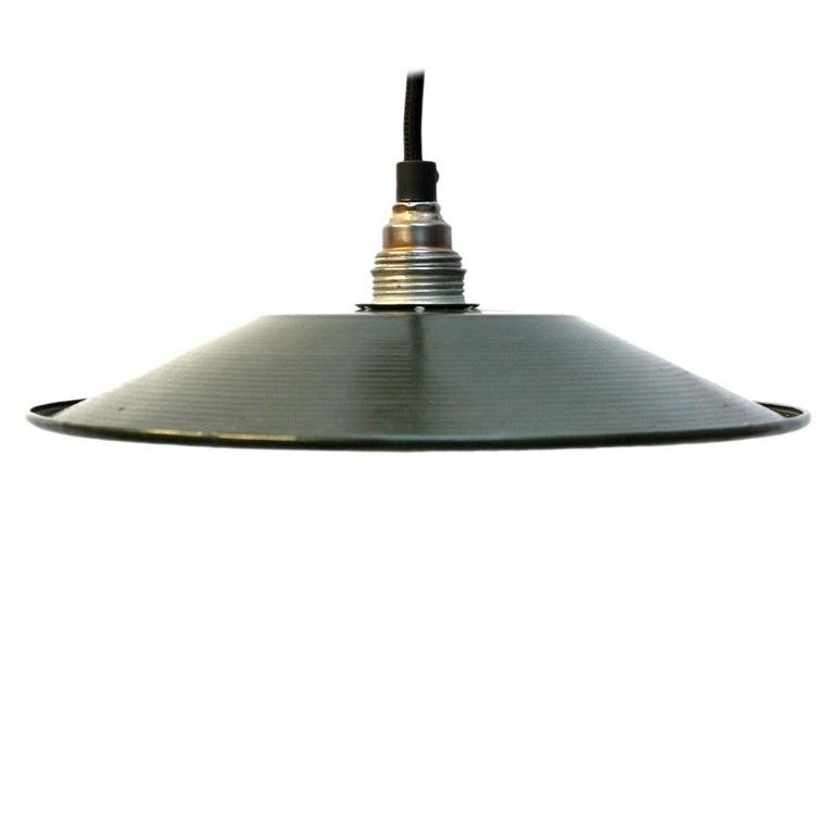 Small French industrial pendant. Excluding light bulb  Measure: Weight 0.3 kg / 0.7 lb  E14 bulb holder. Priced per individual item. All lamps have been made suitable by international standards for incandescent light bulbs, energy-efficient and