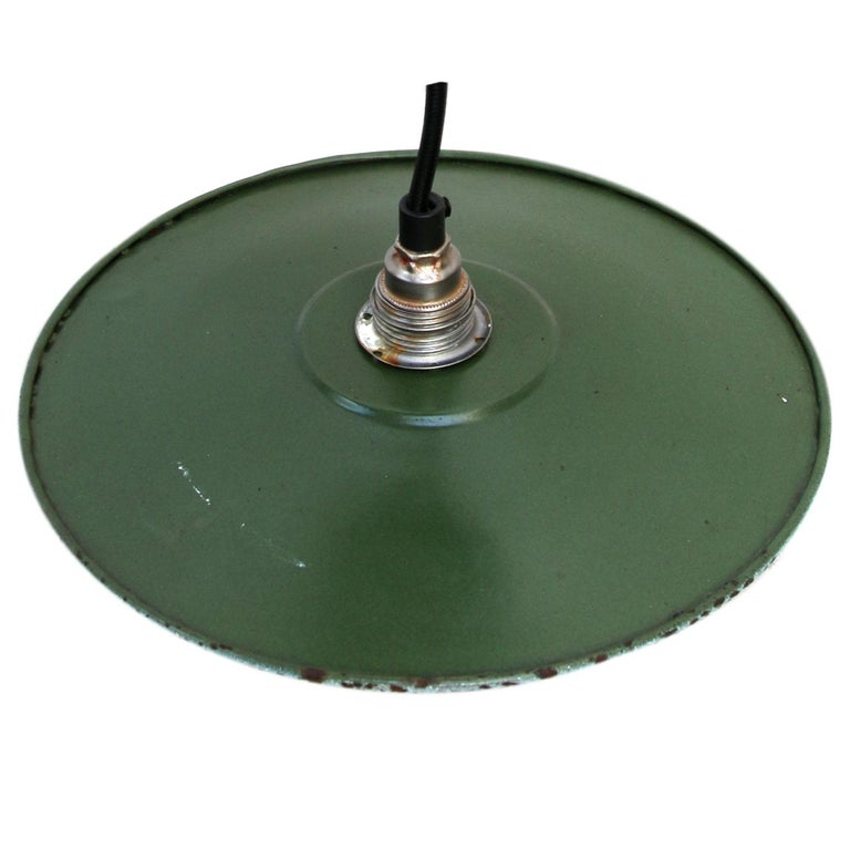 Dark Green Enamel French Vintage Industrial Pendant Light