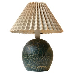 Dark Green French 1920s Pottery Table Lamp in the Style Jean Besnard