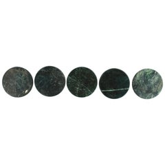 Dark Green Marble Stone Cocktail Coasters, Set of 5