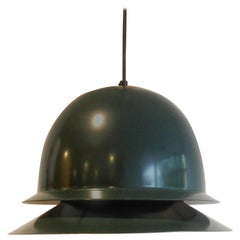 Dark Green Metal Pendant Lamp by Hans-Agne Jakobsson for Svera, Sweden, 1960s
