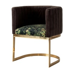 Dark Grey and Green Graphic Velvet Chair