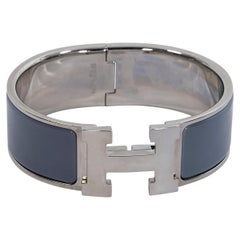 Dark Grey And Silver Hermes Clic Clac H Cuff Bracelet