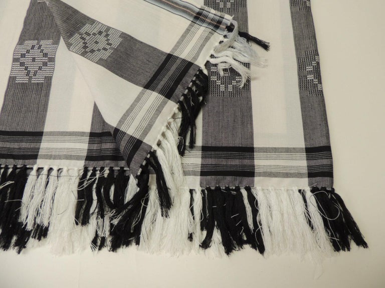 Modern Dark Grey and White Stripe Textile with Hand Knotted Tassels For Sale