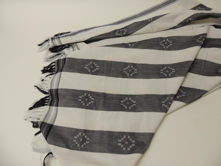 European Dark Grey and White Stripe Textile with Hand Knotted Tassels For Sale