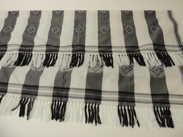 Hand-Crafted Dark Grey and White Stripe Textile with Hand Knotted Tassels For Sale