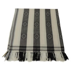 Dark Grey and White Stripe Textile with Hand Knotted Tassels