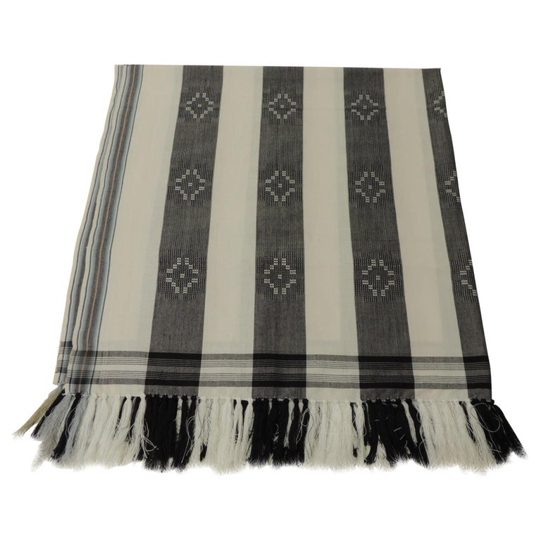 Dark Grey and White Stripe Textile with Hand Knotted Tassels For Sale