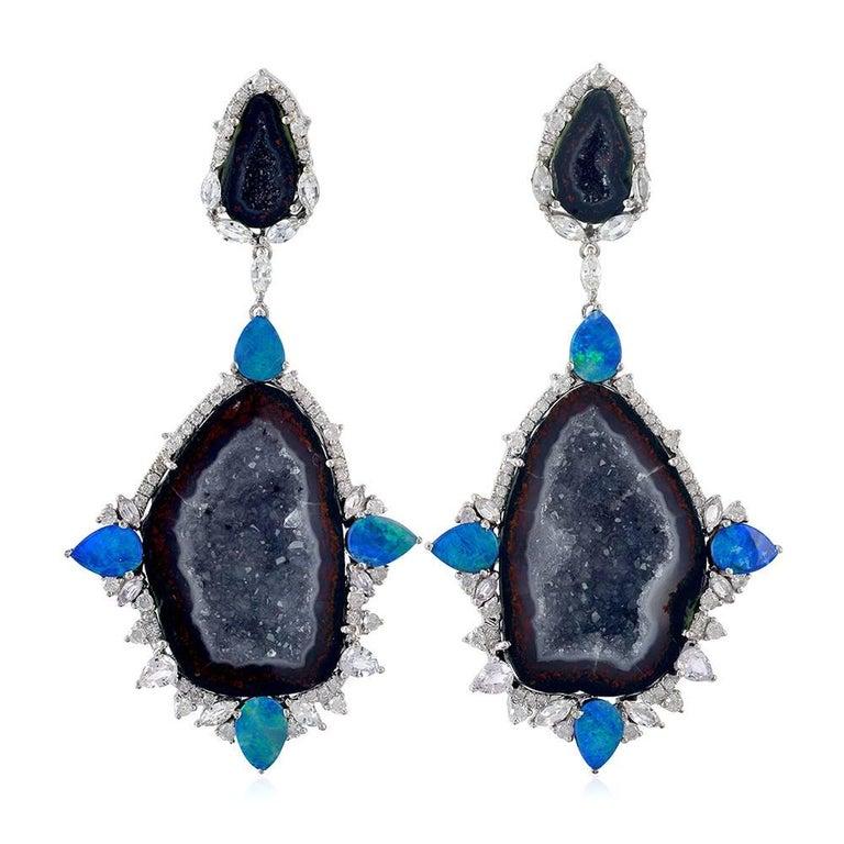 Dark Grey Geode Earring with Diamonds and Opal Around