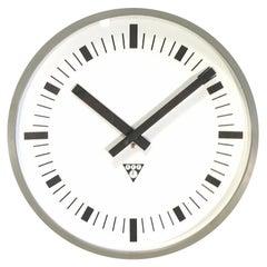 Dark Grey Industrial Bakelite Wall Clock From Pragotron, 1970s