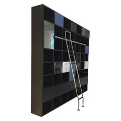 Dark Grey Lacquered Bookcase with Open and Closed Storage and Ladder