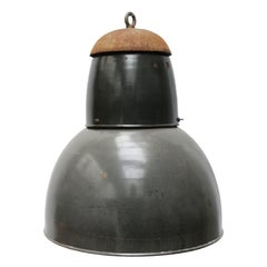 Dark Grey Raw Enamel Vintage Industrial Pendant Light Cast Iron Top