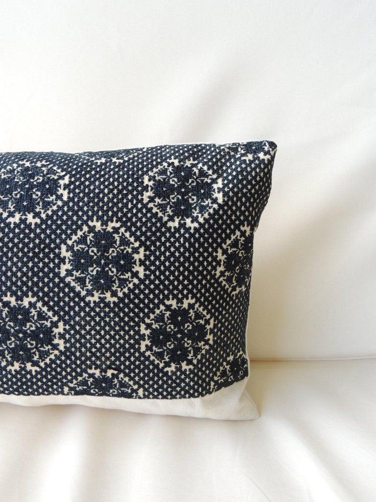Moorish Dark Indigo Embroidery Fez Antique Textile Bolster Decorative Pillow For Sale