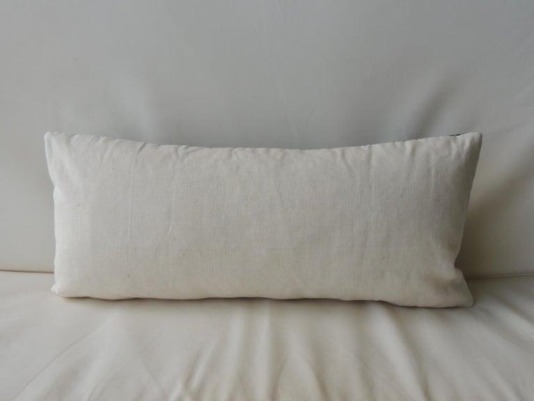 Moroccan Dark Indigo Embroidery Fez Antique Textile Bolster Decorative Pillow For Sale