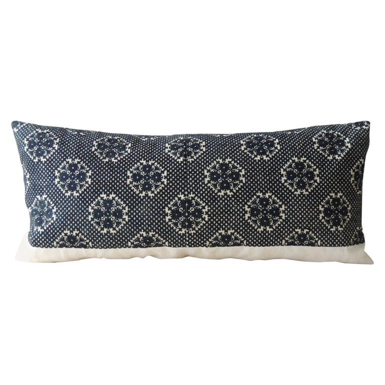 Dark Indigo Embroidery Fez Antique Textile Bolster Decorative Pillow For Sale