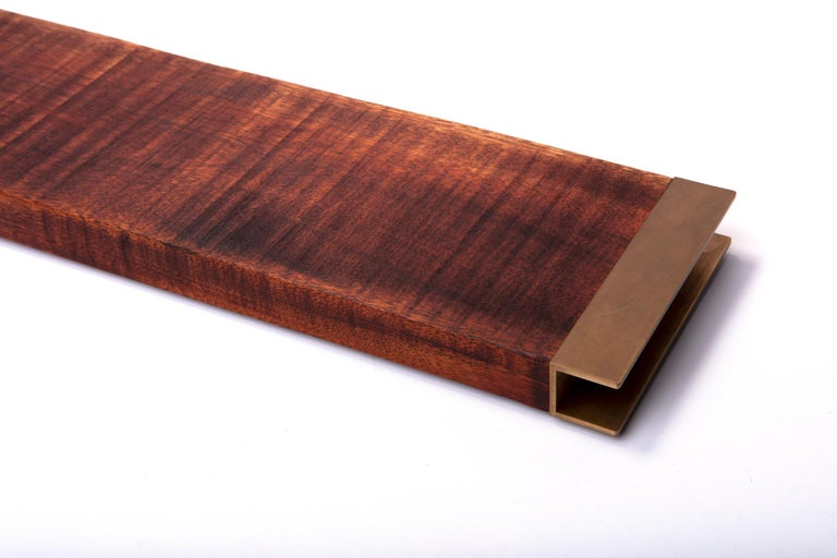 American Dark Mahogany Tray with Antique Brass Handles For Sale
