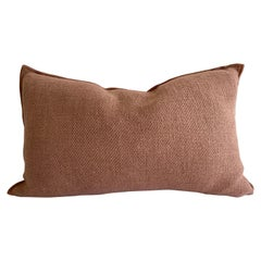 Dark Mauve Linen Accent Lumbar Pillow with Down Insert