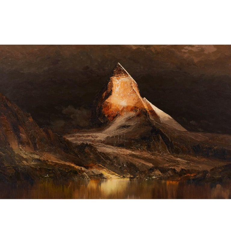 Dark and foreboding are an understatement. Hang this Mordor-esque mountain scape behind your office desk to intimidate and get the upper hand during your negotiations. Frighteningly beautiful. Masculinity and serenity in perfect balance. Signed by