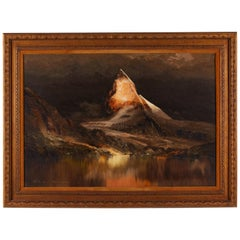 Dark Mountain Scene Signed Oil Painting Framed on Canvas