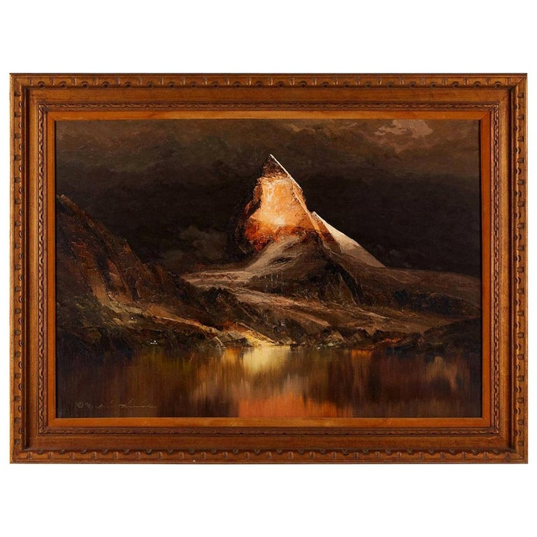 Dark Mountain Scene Signed Oil Painting Framed on Canvas For Sale