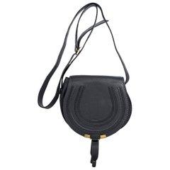 Dark Navy Blue Chloe Leather Marcie Saddle Bag