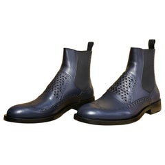 DARK NAVY BLUE LEATHER CHELSEA Boots
