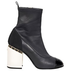 Dark Navy & White Chanel Leather Ankle Boots