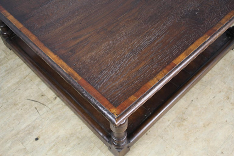 Dark Oak English Potboard Coffee Table In Excellent Condition For Sale In Port Chester, NY