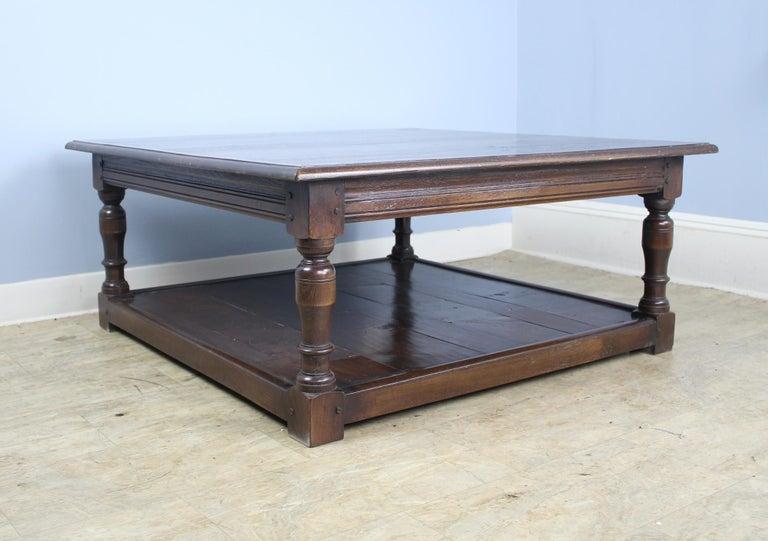 Contemporary Dark Oak English Potboard Coffee Table For Sale