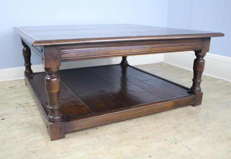 Dark Oak English Potboard Coffee Table For Sale 1