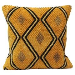 Dark Orange Raffia Velvet Kasai Decorative Pillow
