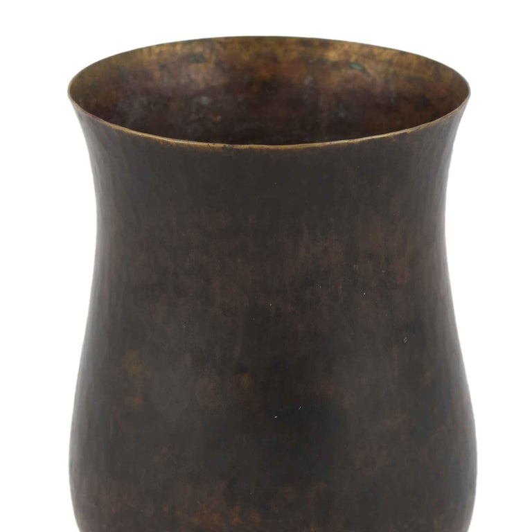 Patinated Dark Patina Brass Vase by Eugen Zint, Germany, 1960s For Sale