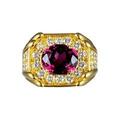 Hammerman Dark Pink Tourmaline and Diamond Cocktail Ring