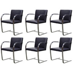 Dark Purple Leather 'Brno' Armchairs by Mies van der Rohe for Knoll, Signed