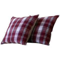 Dark Red and Natural Plaid Madras Textile Pillow