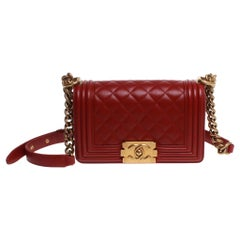Dark red lambskin leather Chanel boy bag