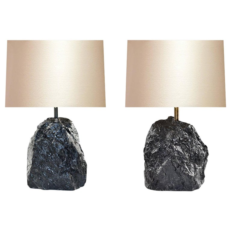 Dark Rock Crystal Lamps by Phoenix For Sale