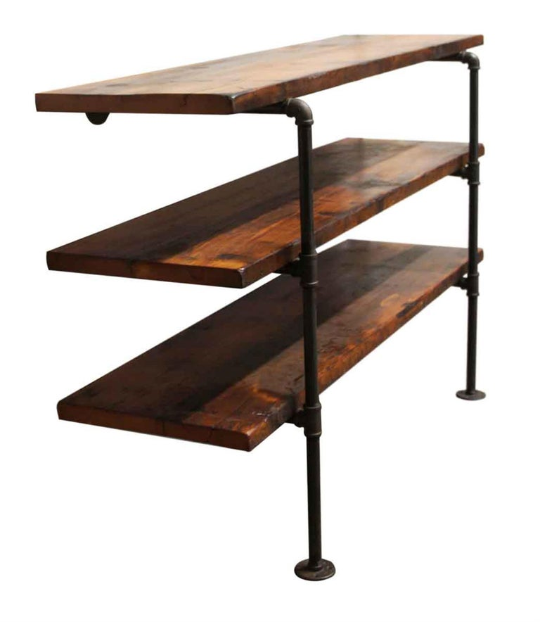 American Dark Stained Pine Shelf Unit with Pipe Legs For Sale